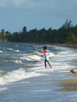 girl fishing at Hopkins beach